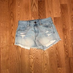 High Waisted Festival Denim Shorts Distressed